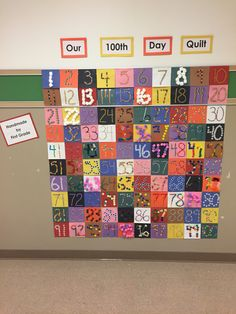 "100 th day of school display- just a pic- using 6x6 pieces of construction paper in 10 colors I wrote the numbers 1-100 in black sharpie. Giving 25 numbers to each first grade class, we used 5 craft materials each to glue onto the number... Ex. Stickers, Pom poms, yarn, toothpicks, cotton balls, beans, etc. we then hung the pieces in a quilt display and titled it""our 100 th day quilt"" the kids were so excited to see their number as part of the quilt!"