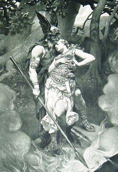 Wotan takes leave of Brunhild (1892) by  the German painter Konrad Wilhelm Dielitz (1845-1933)