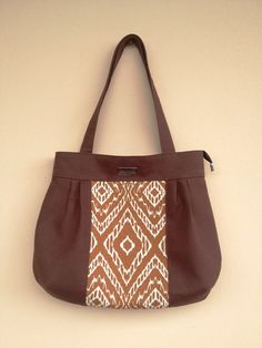 Brown Canvas Purse Brown Fabric Bag Big by NormasBagBoutique