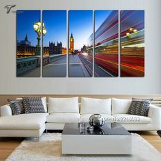 Home Living Decor Wall Art Canvas Prints London Landscape Night City Decorative Paintings 5 Panel Westminster Bridge (No Frame)