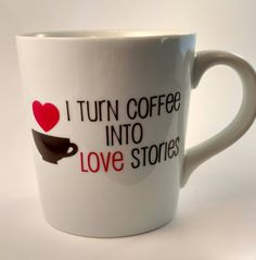 I turn coffee into love stories. Are you a romance writer, or do you know one? This mug lets everyone know that you love what you do! A 16 oz, glossy white mug, with quote in permanent vinyl. Dishwasher safe (or hand-washing for a little TLC!). Do not recommend microwave use.  Theres a production time of 3-6 days to make your mug (does not include date ordered or shipping time). Please ask any questions before making your purchase