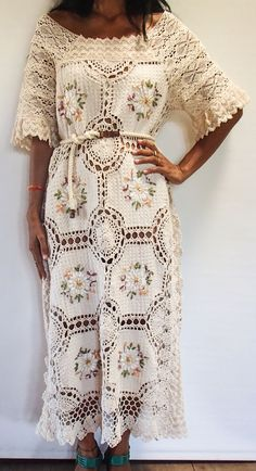 Beautiful and Elegant Crochet and Lace Embroidered Maxi Dress. On or Off Shoulder. Only One Made!