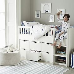 Classic Mid Sleeper Bed from The White Company Childrens Bed Linen, Childrens Bedroom Furniture, White Bedroom Furniture, Bed Furniture, Furniture Stores, Cheap Furniture, Childrens Mid Sleeper Beds, Kids Mid Sleeper, Furniture Dolly