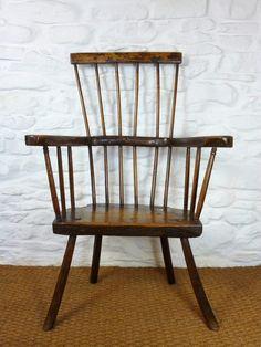 Antique 18thC Welsh Oak Comb Back Stick Chair