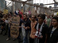 Occupy Wall Street Protest on the Brooklyn Bridge October 2011