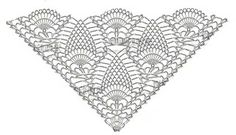 Photo from album on Yandex. Crochet Shawl Diagram, Crochet Square Patterns, Shawl Patterns, Crochet Chart, Crochet Stitches, Crochet Bra, Crochet Symbols, Crochet Triangle, Pineapple Crochet