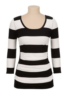 Maurices: Ruched side stripe pullover sweater