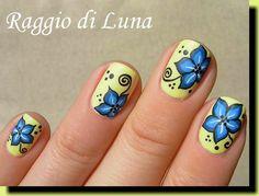 Raggio di Luna Nails: Blue flowers on yellow #nail #nails #nailart