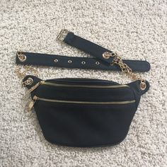 Zara fanny pack Black and gold never used. It didn't fit around my waist. Good condition. Zara New Look purchase Zara Bags