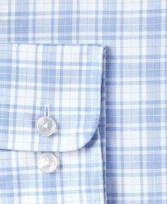 Tasso Elba Men's Classic/Regular Fit Non-Iron Blue Purple Basketweave Plaid Dress Shirt, Only at Macy's - Blue 16 34/35
