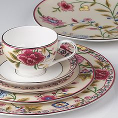Scalamandre Bouvier 5-Piece Place Setting by Lenox  |  175.00  ||  frilly & feminine, yes, but I won't lie; I wouldn't mind having this one tucked away in the 'ol butler's pantry  for a female friends party :)  -db.