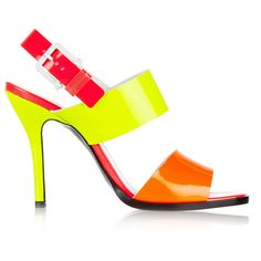 Jil Sander Neon patent-leather sandals (£186) ❤ liked on Polyvore featuring shoes, sandals, heels, bright yellow, neon yellow shoes, yellow sandals, heeled sandals, multi color sandals and patent leather shoes