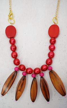 Statement Necklace   Bib Necklace   Rare Vintage amber Resin Beads, Vintage Red Beads, Gold Plated Chain   Hand-Made   One-of-a-Kind by TheTreasureBoxOrna on Etsy