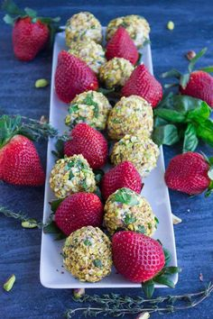 Goat Cheese Pistachio Coated Strawberries Appetizer