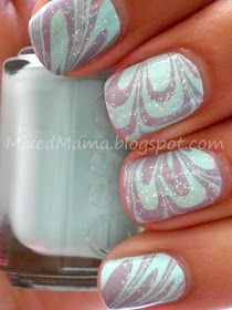 Mint and Lilac Water Marble: Essie's Mint Candy Apple and Bangle Jangle