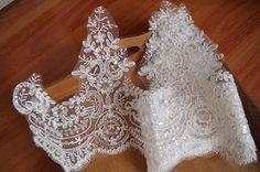 sequined lace trim ivory cord lace trim bridal от WeddingbySophie