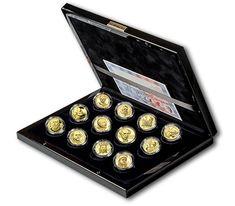 Sada 12ti zlatých pamětních medailonů ½ Oz cyklu Kalendárium 2014 Typewriter