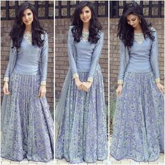 Loooveee her outfit Indian Gowns, Pakistani Dresses, Indian Wear, Indian Outfits, Stylish Dresses, Fashion Dresses, Party Kleidung, Saree Dress, Indian Designer Wear