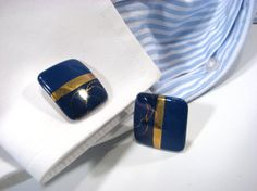 Cuff Links for Men Indigo Blue with Gold Detail Womens Jewelry Upcycled