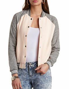 Button-Up Color Block Varsity Jacket: Charlotte Russe