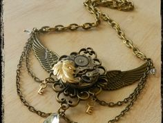 Exquisite Steampunk Winged Necklace Steampunk Wings, Steampunk Halloween, Wing Necklace, Antique Watches, Halloween Make Up, Victorian Fashion, Bracelets, Necklaces, Chokers