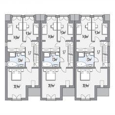 Projekt domu w zabudowie bliźniaczej ERWIN zestaw 3 segmentów L+S+P (HP21) | wybieramprojekt.pl Apartment Plans, Small House Design, Small Homes, Terrace, House Plans, Villa, Floor Plans, Flooring, How To Plan