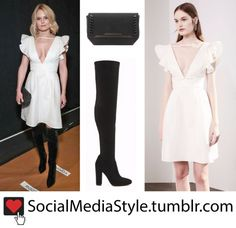 Buy Jennifer Morrison's White Dress, Black Clutch, and Black Over-The-Knee Boots, here!