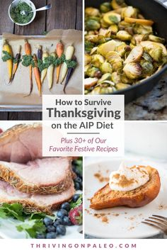Tips to survive – and enjoy – an AIP Thanksgiving: like avoiding temptation, traveling, how to eat over friends' and family's' houses, having company, and even some AIP Thanksgiving recipes to make! Dairy Free Recipes, Paleo Recipes, Whole Food Recipes, Cooking Recipes, Paleo Thanksgiving, Food Festival, One Pot Meals, Turkey Recipes, Easy Cooking