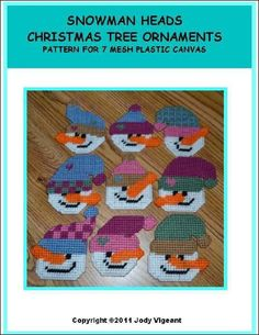 Snowman Heads Christmas Tree Ornaments Pg 1/2