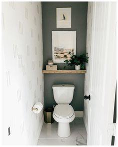 Small Downstairs Toilet, Small Toilet Room, Small Toilet Decor, Small Toilet Design, Bad Inspiration, Bathroom Inspiration, Bathroom Renos, Master Bathroom, Bathroom Wall Ideas