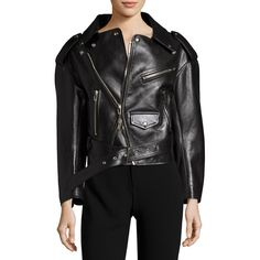 Balenciaga Leather Moto Jacket (201.440 RUB) ❤ liked on Polyvore featuring outerwear, jackets, black, women's apparel jackets, quilted leather jackets, quilted moto jacket, rider leather jacket, real leather jackets and leather biker jacket