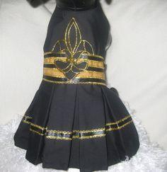Dog Dress--Cheerleader-Black and Gold.