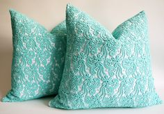 Blue Green Lace Pillow Case