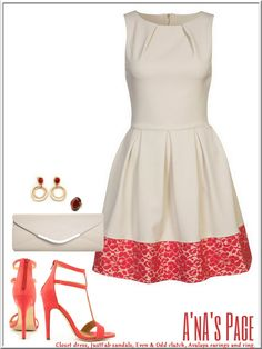 Coral & natural outfit.  Won't mind wearing this on a date!