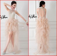 Wholesale Prom Dresses - Buy 2014 Prom Dresses Champagne High Neck Bare Shouder Sexy Backless High-Low Sweep Train Beaded Crystals Formal Gowns Party Dress A&A New P-153, $139.0 | DHgate