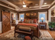 Mountain High Residence   Rustic   Bedroom   Atlanta   Trimble Kelly  Studios Heavy Use Of Paint, Barn Door Adds Light Rustic Touch, Ledgestone  Adds Light ...