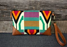 Aztec Wristlet / Clutch / Navajo / African fabric by SweetPeaTotes, $34.00