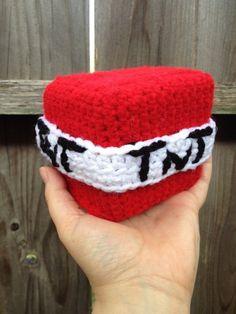 Crochet pattern for a Minecraft TNT Block! Crochet Game, Crochet Chain, Crochet Gifts, Cute Crochet, Crochet Toys, Knit Crochet, Minecraft Crochet Patterns, Minecraft Knitting, Minecraft Pattern