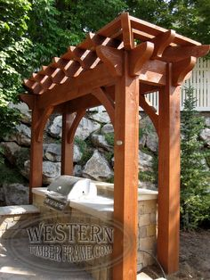 Free standing pergola with Rich Sequoia stain and Roosevelt profile. Upgraded full wrap around roof.