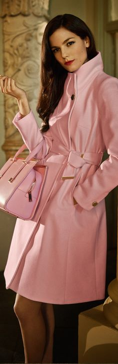Ted Baker pink straight-cut wrap coat fashioned from a cashmere-infused wool blend teamed with pink TB tote