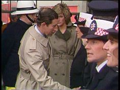Diana Princess of Wales Collection T01039001 Towyn Prince Charles and Diana meeting members of the emrgency services who worked to combat flooding