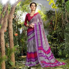 Crepe #Grey & Purple Printed #Saree - 40010 at Rs 631