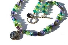 Celtic Irish Necklace Green Teal and Purple by BlackElephantBeads