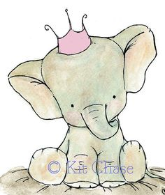 Nursery Art Royal Elephant with a Cotton by trafalgarssquare, $20.00