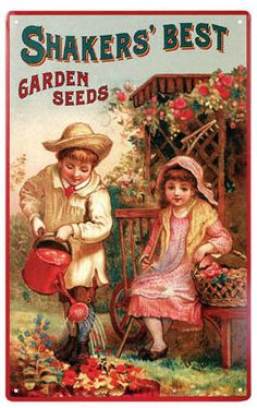 Shakers' Best Garden Seeds Tin Sign : Sign Time Sign, Wholesale Tin Signs