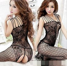 Sexy-Black-Woman-Lace-One-Piece-Teddy-Lingerie-Set-Thong-Nightwear