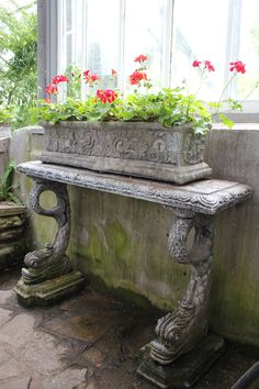 antique concrete table and red geraniums