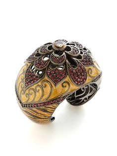 Leopard Enamel & Citrine Blooming Cutout Cuff by M.C.L. By Matthew Campbell Laurenza at Gilt