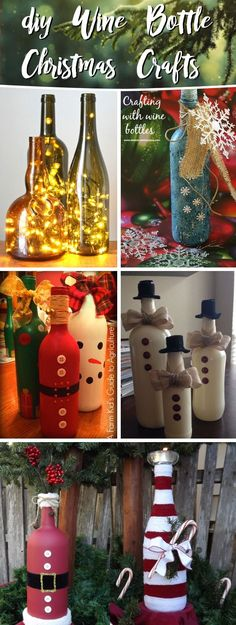 20 Wine Bottle Christmas Crafts To Go For A Festive Decor Blended With Some Upcycling – Cute DIY Projects : 20 Wine Bottle Christmas Crafts To Go For A Festive Decor Blended With Some Upcycling DIYHomeDecorWineBottles Wine Bottle Christmas Natal Diy, Glass Bottle Crafts, Crafts With Wine Bottles, Decorating Wine Bottles, Diy Bottle, Wine Bottles Decor, Wine Bottle Decorations, Glass Bottles, Wine Decor