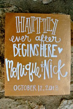 Happily ever After hand painted wedding sign by b.krafty #wedding